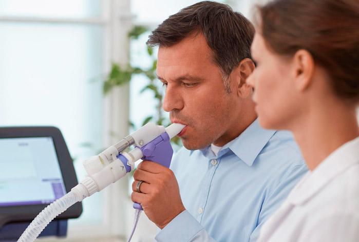 Espirometria – É um teste que permite aferir o fluxo de ar nas vias aéreas ou nos brônquios
